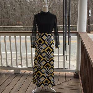 Vintage 70's Sheer Sleeve Maxi Dress